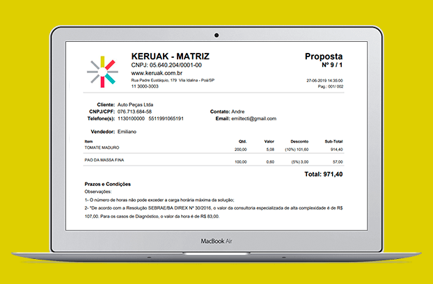 Aplicativo de vendas do Keruak Software