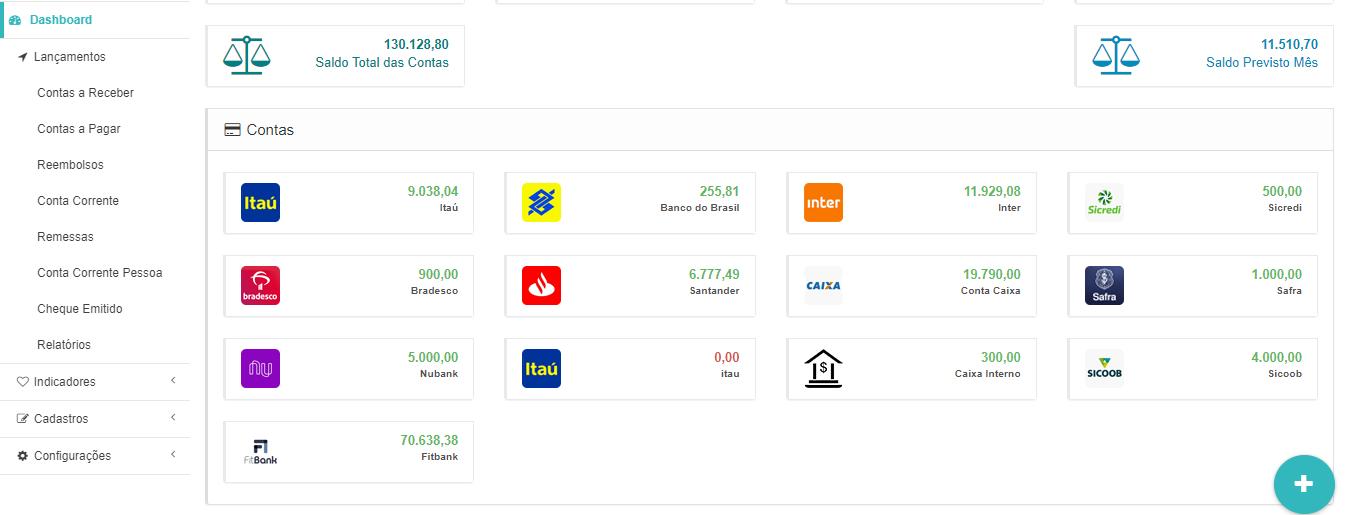 Ordene a exibição das contas dos bancos na Dashboard
